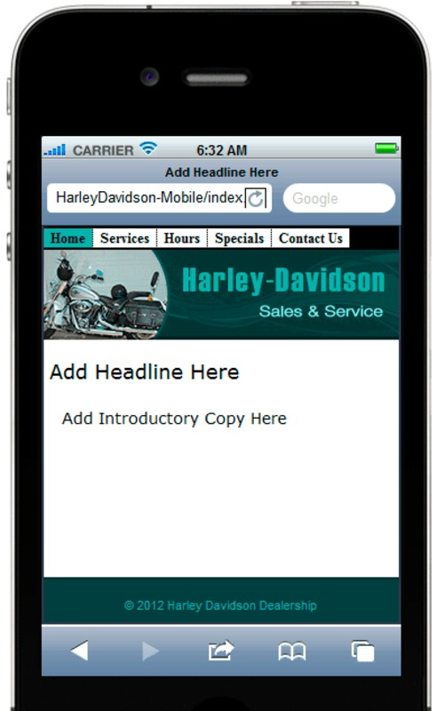 Product picture Harley Davidson Mobile Site Template